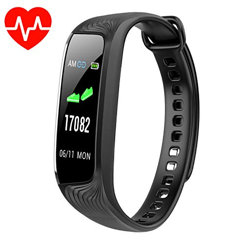 BuTure Pedometer, Heart Rate Monitor, Fitness Tracker Watch IP67, Sleep Monitor for Exercising and All Day Wear Compatible with iPhone & Android