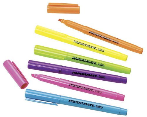 (Papermate Highlighter Chisel Tip Assorted Fluorescent Colors: Pack 6)
