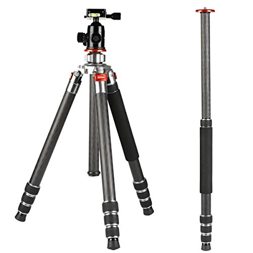 K&f Concept Carbon Fiber Camera Tripod 4 Section 61 Inch with Load Capacity 26.46lbs Monopod for Camera DSLR DV Canon Nikon Sony by K&F Concept