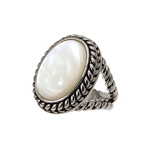 Lavencious Antique Silver Vintage Oval Mother of Pearl Statement Ring for Women Size 5-10 (Antique Silver, 5)
