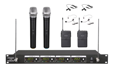 GTD Audio G-380HL VHF Wireless Microphone System with 2 Handheld & 2 Headset, Lavalier (Lapel) (Headset Vhf System)