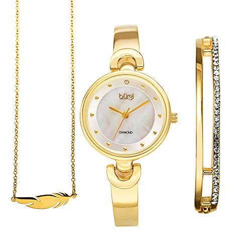Burgi Women's 3 Piece Jewelry Gift Set – Half Bangle Diamond Watch with Swarovski Crystal Pendant Necklace and Bracelet Flash Plated - (BUR214YG)