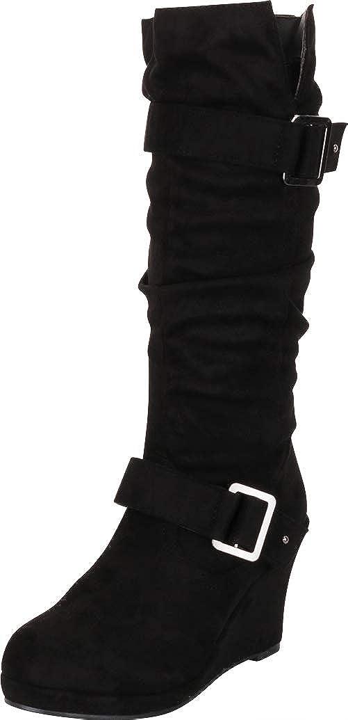 Black Imsu Cambridge Select Women's Strappy Chunky Wedge Mid-Calf Boot