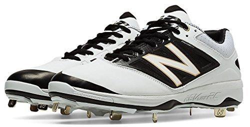 New Balance Men's L4040V3 Metal Cleat Baseball Shoe, Size: 13 Width: 2E Color White/Black