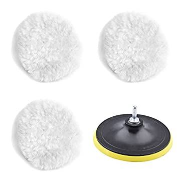 MEAOR Polishing Buffer Pads Wheel Polishing Lambswool Bonnet Pad and Woolen Polishing Waxing Buffing Pads Kits with M10 Drill Adapter for Polishing Artificial Stone Furniture Cars etc (6 Inch)