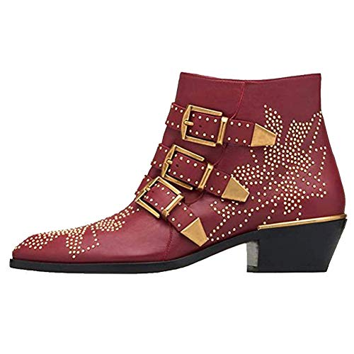 GEEDIAR Leather Ankle Boots,Women Low Heel Studded Chunky Buckle Mental Rivet Red Bootie Size 7.5