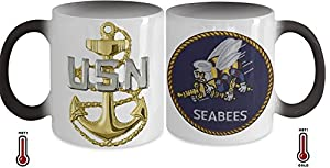 Seabees Chief Petty Officer (CPO) Coffee Color Changing Mug with CPO Rank on Front and Seabees Patch on Back by Gearbubble