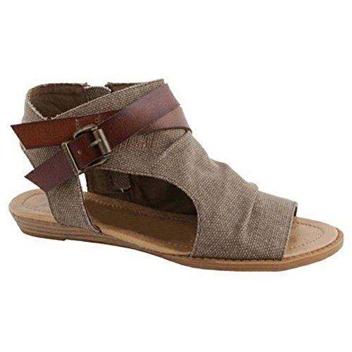Highdas Mujer Sandalias Zapatos Peep Toe Romano Sandalias Plano Verano Fiesta Al Aire Libre Sandalias Marrón