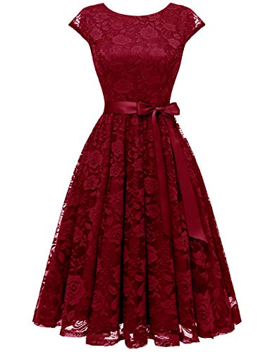 BeryLove Women's Floral Lace Short Bridesmaid Dress Cocktail Party Dress BLP7016DarkRedXS]()