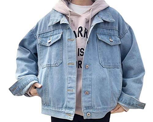 Donna Moda Vintage Manica Primaverile Con Giacche Multi Lunga Chic Fidanzato Jeans Hell Cute Autunno tasca Colori Cappotto Outerwear Button Jacket Solidi Denim Di Blau Elegante 08qrw0