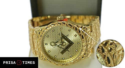 Men's Hip Hop Luxury Iced Out 14K Gold Plated Metal Band Rapper's Bling Watch (Freemason Nugget)