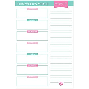 """bloom daily planners Weekly Meal Planning Pad - Tear Off Meal Planner with Perforated with Magnets, Tear Off Shopping List - 6"""" x 9"""""""