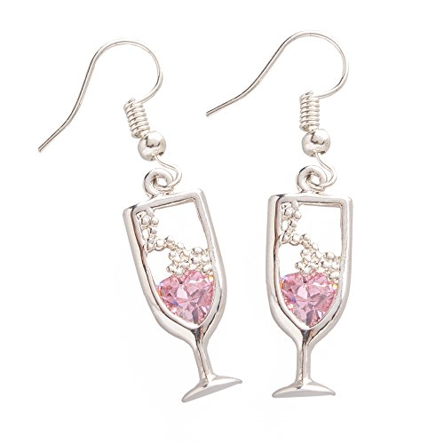 Chris's Stuff Pink Champagne Earrings - Silver Plated with Fish-hook Ear-wires & Crystals - Pack of 2 (Champagne Glass Earrings)