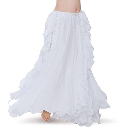 ROYAL SMEELA Women's Belly Dance Chiffon Skirt ATS Voile Maxi Full Dress Bellydance Skirts White One Size]()