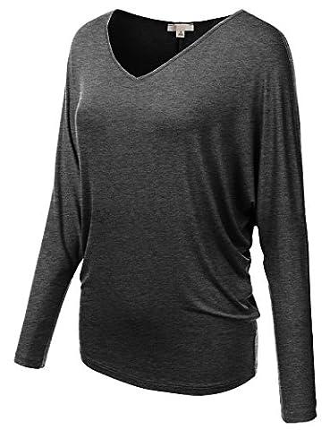 H2H Women's Half Sleeve Rayon Spandex Yoga Basic Tunic Top with Shirring CHARCOAL US M/Asia M - Lycra Turtleneck Dress