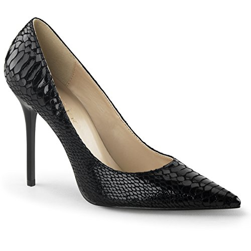 - Pleaser 4 Inch Pointed-Toe Pump (Blk Snake-Print Leather;16)
