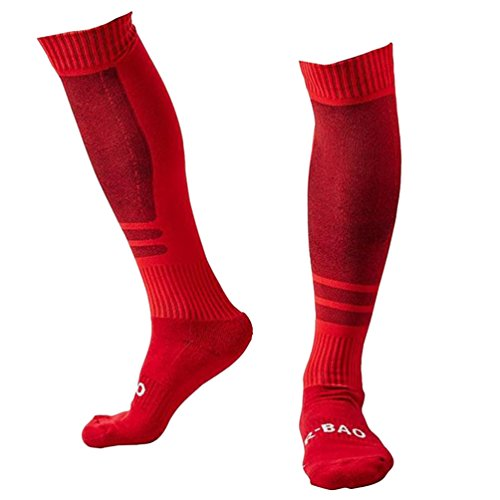 BB Gossip Unisex Thick Warm Sports Soccer Over-the-Calf Cotton Socks Red