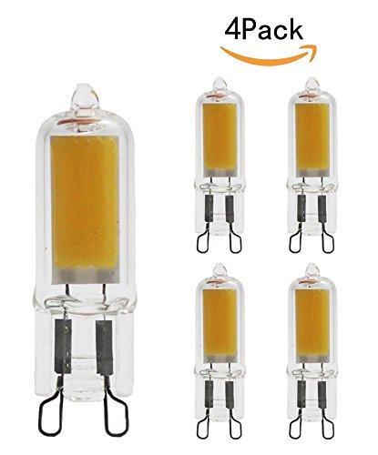 JKLcom G9 LED COB Bulb G9 Bi-Pin Base 5W 110V Warm White LED Light Bulbs G9 Non-Dimmable LED Light Bulbs,50W Halogen Lamp Replacement,Pack of 4