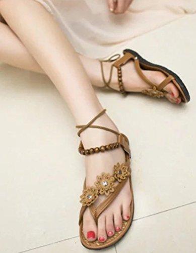 NiSeng Mujer Cuentas De Bohemia Sandalias Planas Zapatos Abrir Con Punta De Casual Sandalias De Playa Marrón