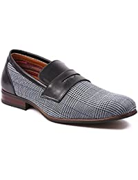 Men's 19371 Designer Plaid Print Slip on Penny Loafers Dress Shoes