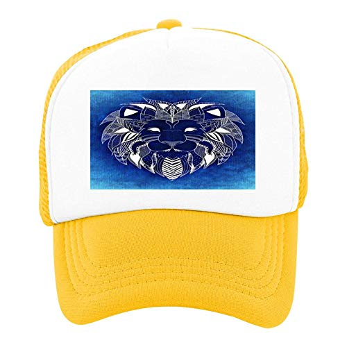 Lion Primitive Portrait Totem Summer Sun Protection for Children, Baseball Net Hat for Boys and Girls Yellow
