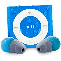 Waterfi Waterproof Apple iPod Shuffle with Short Cord Waterproof Headphones - Best Swimming MP3 Player (New Model) (Blue)