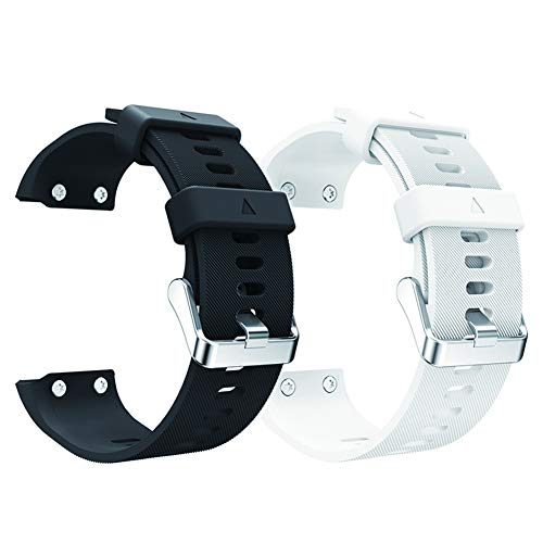aczer-Y Garmin Forerunner 35 Accessories Watchbands,10 Color Replacement Watch Band with Stainless Buckle and Rubber Strap for Garmin Forerunner 35 Wrist Band, black+white