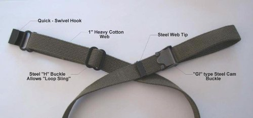 "Tech Sight's M1/M14 cotton loop sling (1"" W), great for use on a Ruger 10/22 as a Libery training rifle."