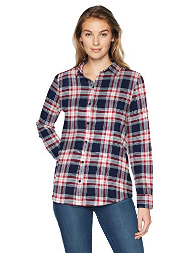 Amazon Essentials Women's Long-Sleeve Classic-Fit Lightweight Plaid Flannel Shirt Shirt, -red/navy plaid, - Flannel Womens