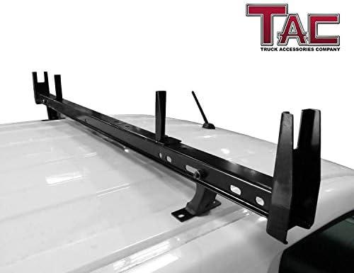 TAC - Escalera universal para techo de 2 barras con capacidad de 6,6 kg, barra transversal ajustable con tapón para furgoneta sin lluvia, ajuste para escalera de canoa de kayak, tubos de