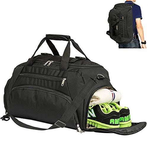 Hopopower 3-Way Gym Sports Duffle Bag Backpack Men/Women Waterproof Travel Duffel Bag with Shoe Compartment 40L