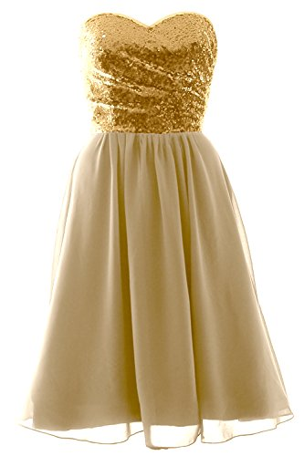 MACloth Elegant Strapless Short Bridesmaid Dress Sequin Chiffon Formal Gown Gold-Champagne 3YpJFoAAc