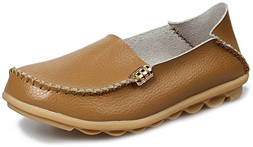 Fangsto Womens Cowhide Casual Slipper Loafers Moccasin Driving Shoes Flat Slip-Ons Khaki