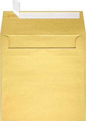 (5 1/2 x 5 1/2 Square Envelopes w/Peel & Press - Gold Metallic (50 Qty.) | Perfect For Thank You Notes, RSVPs, Greeting Cards, Wedding Invitations or any Announcement | 80lb Text Paper | 8515-07-50)