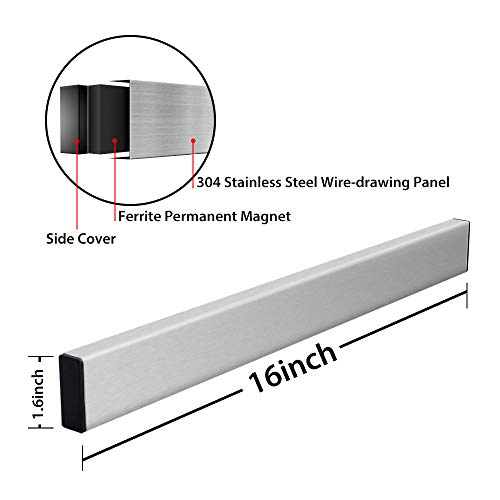 Magnetic Knife Strip, Villsure Stainless Steel Magnetic Knife Holder,Wall Mount Adhesive Magnetic Knife Rack Kitchen Utensil Holder, Tool Holder, Art Supply Organizer & Home Organizer by Villsure (Image #2)