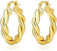 Twisted Chunky Hoop Earrings For Women 18K Gold Plated Lightweight Thick Hoop Earrings For Women Girls Jewelry