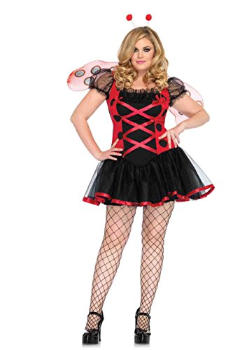 Leg Avenue Women's Plus Size 3 Piece Lovely Ladybug Costume, Black/Red, 1X-2X -