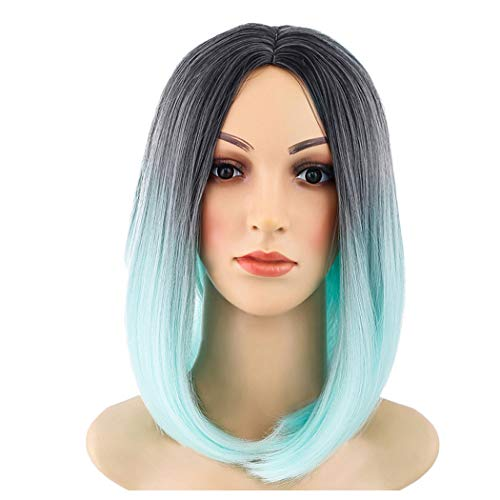 Clearance! Short Straight Wig, Inkach Black Womens Middle Part Afro Kinky Synthetic Ombre Wigs, African American Costume Party Full Hair Wig (Mint Green) ()