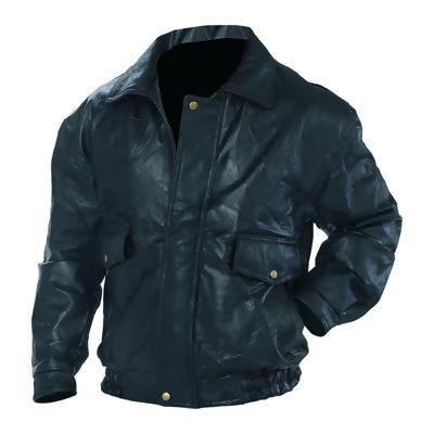"""Mens Genuine Leather Jacket- 4X Large *** Product Description: The """"Bomber Jacket"""" Design Affords Style And Function In One Garment. Features 2 Large Front Snap Pockets, An Added Convenience In Keeping Up With Your Car Keys Or Sunglasses, And Sna ***"""