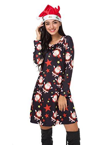 Christmas Long Sleeve Pullover Swing Santa Midi Dress