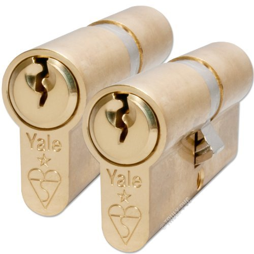 Yale Anti-Bump Euro Cylinder 40/40mm Keyed aLike Brass Finish (aka 35-10-35mm - 80mm overall) 6 keys supplied - suitable for french patio doors, and matching keys front and back doors by Yale