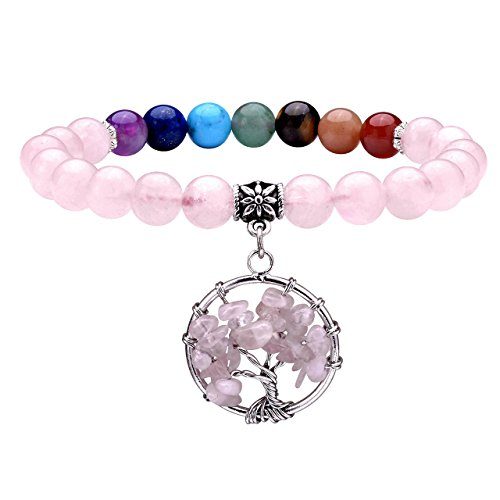 Jovivi 7 Chakra Healing Crystal Bracelet, Yoga Meditation Round Rose Quartz Beads with Tree of Life Charm & Gift Box