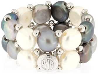 D'AMA Women's 2 strand Freshwater Cultured Pearl Stretch Ring with Stainless Steel Beads