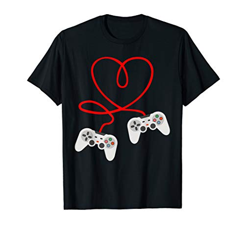 Video Gamer Valentines Day T-Shirt With Controllers Heart