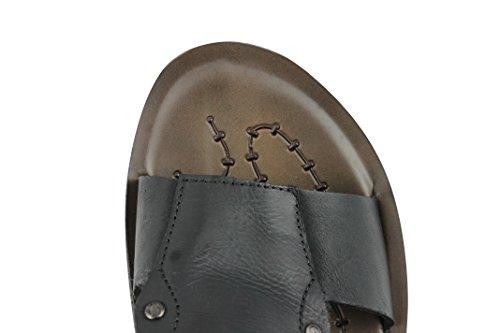 New Mens Real Leather Sandals Black Brown Summer Beach Walking Slip On Slider UK Size 6 To 10 Black alSPUafmV