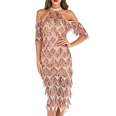 Alangbudu Women's Halter Cold Shoulder 1920s Vintage Flapper Fringe Beaded Great Gatsby Party Dress