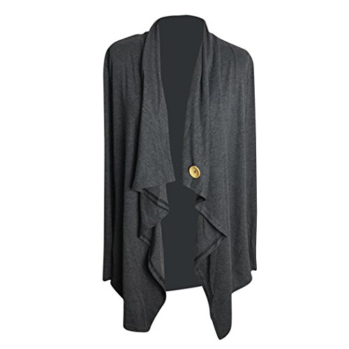 oscuro Irregular De QinMM Larga De Frente Con Gris Vestido Abierto Patchwork Mujer Ropa Abrigo Coat Manga p7aZaw