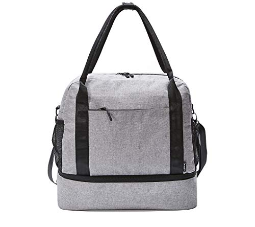 - Carry-on Tote Bag with Bottom Zippered Compartment, Slides over Luggage Handle