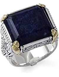 Men's Size 10 Silver/18k Gold Ring with Blue Sodolite
