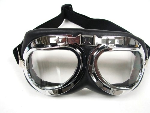 TMS WWII RAF Aviator Pilot Motorcycle Half helmet Goggles -